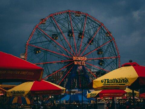 The Wonder Wheel ferris wheel, in Coney Island, Brooklyn, New York City