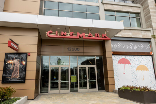 Kirkland, WA USA - circa July 2021: view of a tall Cinemark movie theater building in the Totem Lake shopping area in Kirkland