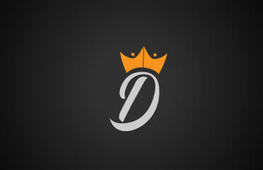Fototapeta D creative handwritten alphabet letter logo for branding and business. Design for lettering and corporate identity with king crown. Professional template icon obraz