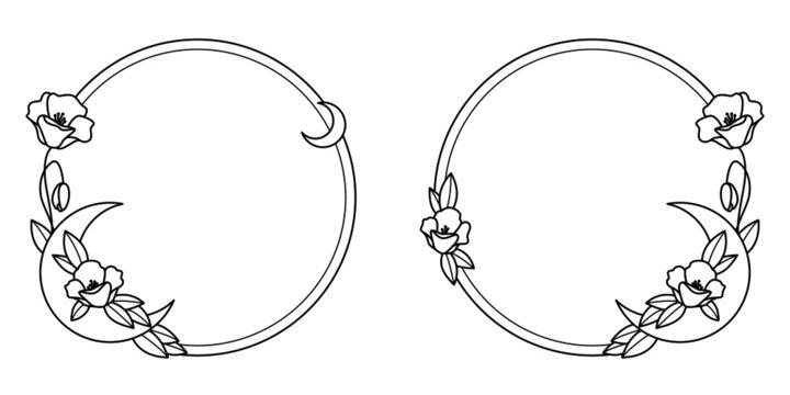 Ręcznie rysowana ilustracja wektorowa - ramka - wianek, księżyc z dzikimi kwiatami i liśćmi. Idealna na zaproszenia ślubne, kartki z życzeniami, cytaty, tatuaże, tekstylia, blog, plakat.