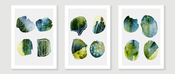 Abstract art background vector. Minimal hand painted watercolor and line art illustration. Design for wall decoration, wall arts, cover, postcards, brochure.