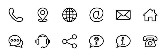 Obraz Contact us icon set. Web icon set. Website set icon vector - fototapety do salonu