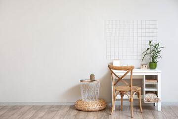Fototapeta Interior of light room with comfortable workplace obraz