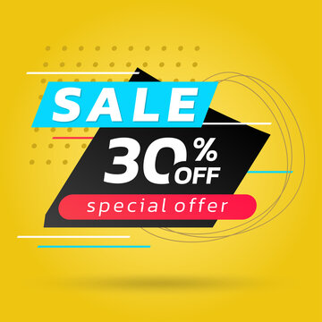 Sale banner or poster template. Modern discount card design template for promotion and social media advertising. 30 percent price off layout with abstract geometric shapes. Vector illustration.