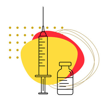 Syringe with needle and bottle outline icon. Coronavirus vaccine injection. Vaccination banner concept. Vector illustration.
