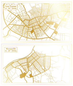 Manzanillo and Las Tunas Cuba City Map Set.