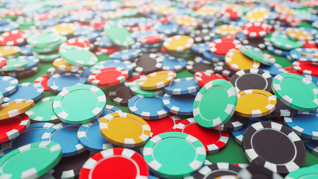 3D Renering, illustration of a big amount of casino chips on a poker table.