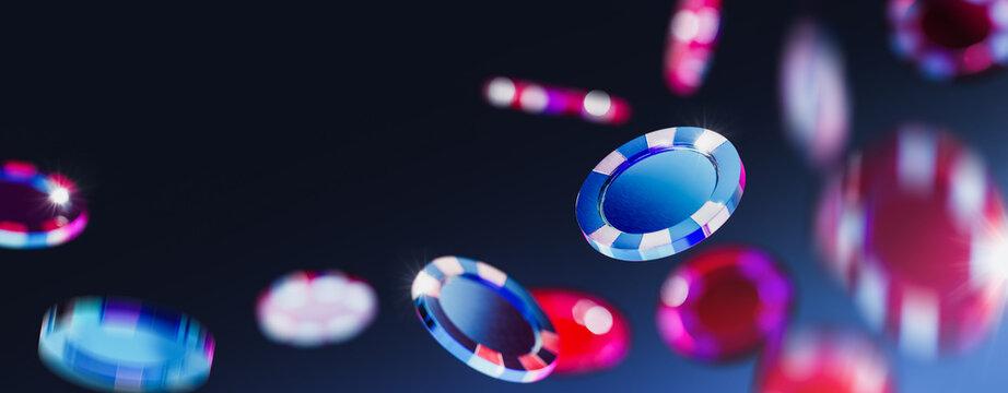 3D Rendering, illustration of casino poker chips falling in a dark blue background