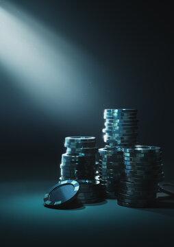 3D Rendering, illustration of casino poker chips arranged in stacks in a dark blue background