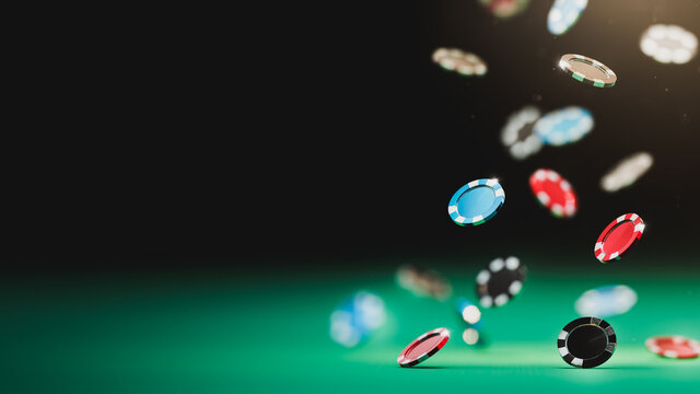 3D Rendering, illustration of casino poker chips falling on a green table