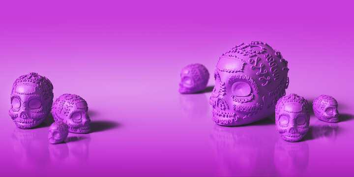 3D Rendering, illustration of a Sugar skull used for offerings on day of the dead celebrations on a purple background