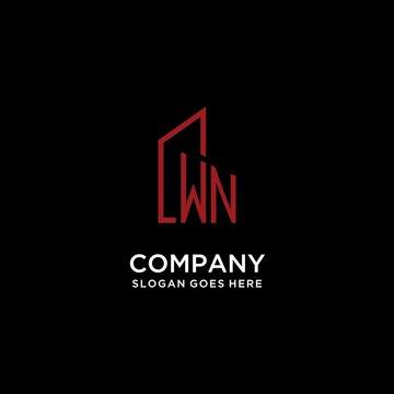 WN initial monogram with building logo design