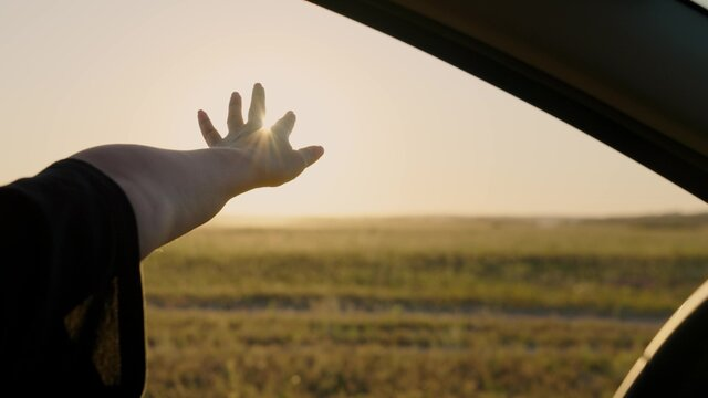 A free woman drives a car, catches sunrise light and wind with her hand from car window. Vacation, travel. Girl sits in front seat of car, reaches out to window and catches glare of setting sun.
