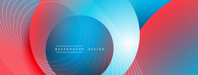 Gradient circles with shadows. Vector techno abstract background. Modern overlapping forms wallpaper background, design template