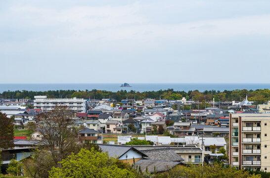 Cityscape of higashikagawa city and the seto inland sea  , kagawa, shikoku, japan