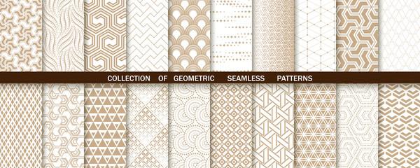 Fototapeta Geometric set of seamless gold and white patterns. Simple vector graphics obraz