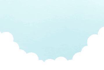 Obraz 空のシンプルな背景 風景 青空 雲 夏 水彩風 イラスト 青空 晴れ 自然 晴天 - fototapety do salonu
