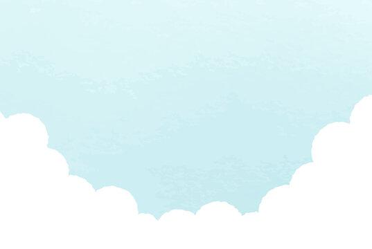 空のシンプルな背景 風景 青空 雲 夏 水彩風 イラスト 青空 晴れ 自然 晴天