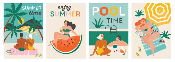 Fototapeta Set of a summer background. Summer swimming, swimming, diving in a huge watermelon. Couple relaxing at the beach . Vector cards, poster design illustration. obraz