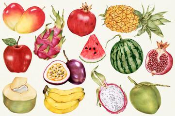 Fototapeta Hand drawn tropical fruits patterned background illustration obraz