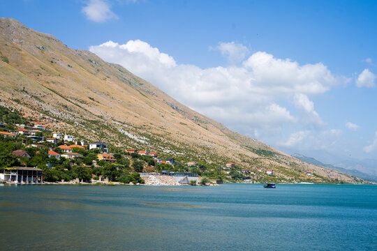 Panoramic view of the city of Shkoder and Lake Skadar, Albania