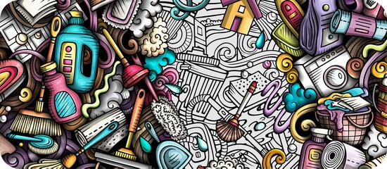 Fototapeta Cleaning hand drawn doodle banner. Cartoon vector detailed flyer. obraz