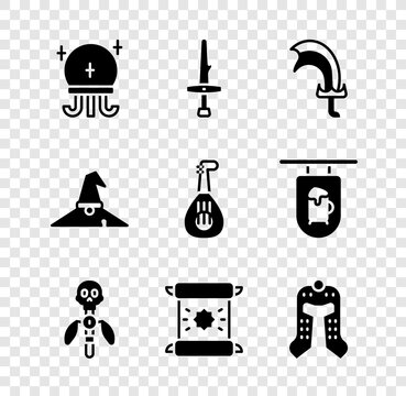 Set Magic ball, Dagger, Sword for game, staff, Decree, parchment, scroll, Medieval helmet, Witch hat and Lute icon. Vector