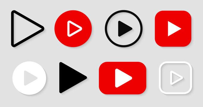 Play button icon vector set