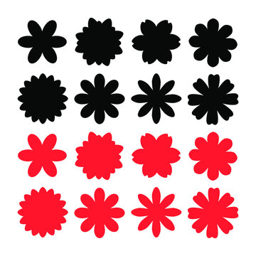 Collection of flower vector png icon isolated on white back ground