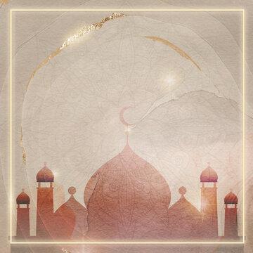 Golden square Eid Mubarak frame