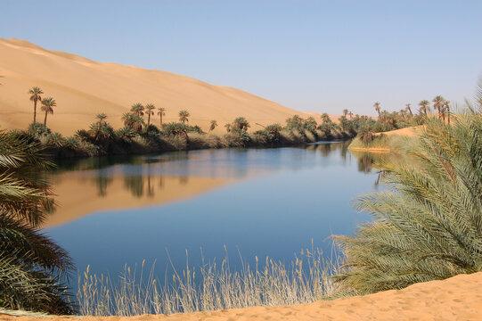 Oum al-Maa oasis, Ubari Sand Sea, Libya