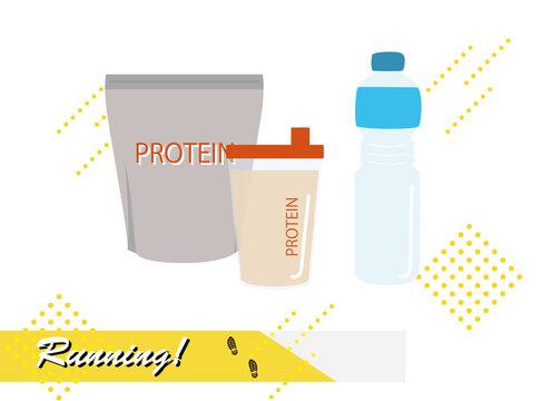 ジョギング・ランニングアイテム プロテインと水分