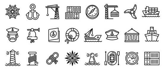 Obraz Marine port icons set. Outline set of marine port vector icons for web design isolated on white background - fototapety do salonu