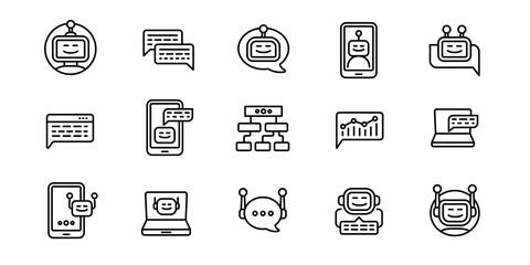 Fototapeta Chatbot icons set. Outline set of chatbot vector icons for web design isolated on white background obraz