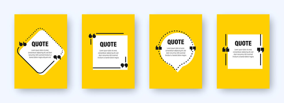 Set of modern yellow banners with quote frames. Speech bubbles with quotation marks. Blank text box and quotes. Blog post template. Vector illustration.