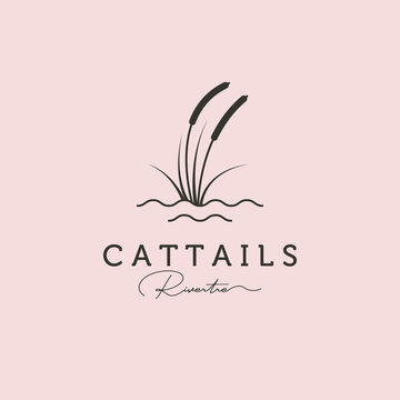 reed or cattail minimal logo vector illustration design with water symbol
