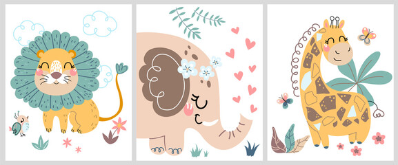 Cute hand drawn posters with a little lion, giraffe, elephant vector prints for baby room, baby shower card, greeting card, kids and baby t-shirts, and wear. Set of flat cartoon vector illustrations