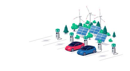 Obraz Electric car charging on parking lot area with fast supercharger station and many charger stalls. Vehicle on renewable solar panel wind power station electricity network grid. Flat vector illustration - fototapety do salonu