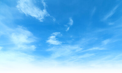 Fototapeta Summer Blue Sky and white cloud white background. Beautiful clear cloudy in sunlight calm season. Panoramic vivid cyan cloudscape in nature environment. Outdoor horizon skyline with spring sunshine. obraz