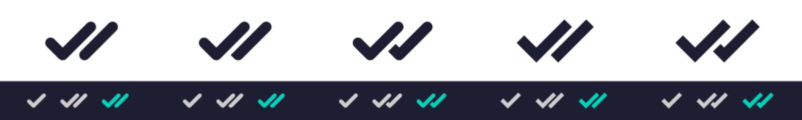 Fototapeta Double check icon form message send status. Two ticks - sent, delivered, seen, vector icon obraz