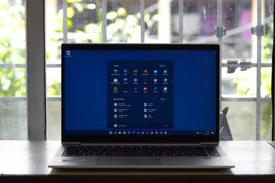DIBRUGARH, INDIA - Jun 25, 2021: Windows 11 logo on laptop screen stock image.