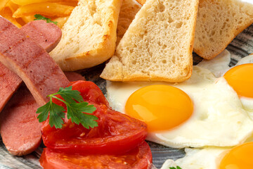 Close up of english breakfast plate food