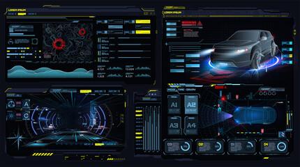Obraz Virtual reality. Futuristic VR head-up display design. Sci-Fi helmet. Concept for driver assistance systems. Autonomous adas car. Car auto service, diagnostic auto. App in the style of HUD, GUI, FUI. - fototapety do salonu