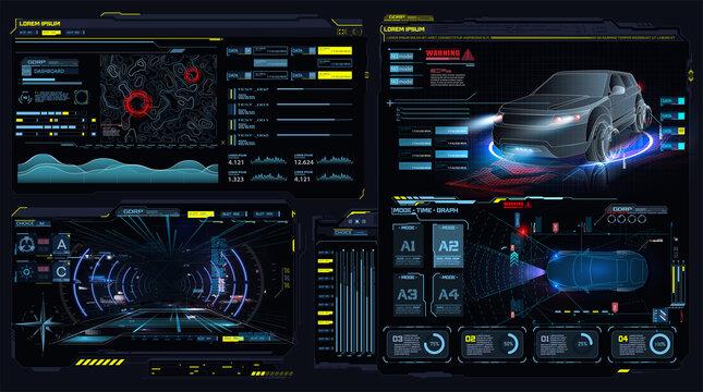 Virtual reality. Futuristic VR head-up display design. Sci-Fi helmet. Concept for driver assistance systems. Autonomous adas car. Car auto service, diagnostic auto. App in the style of HUD, GUI, FUI.