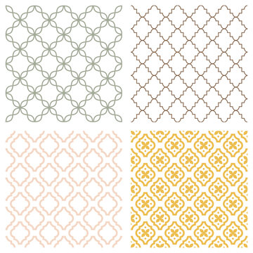 Monochrome geometric seamless patterns. Retro tileable backgrounds line grids. Vintage style classic textures for wallpaper and fabric print designs
