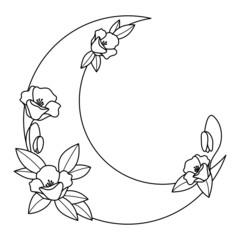 Półksiężyc i kwiaty - dekoracyjna boho ilustracja z miejscem na Twój tekst do wykorzystania jako logo, tatuaż, zaproszenie ślubne, kartka z życzeniami, naklejka.
