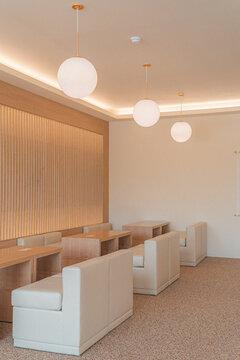 Elegant interior design of a restaurant dining room