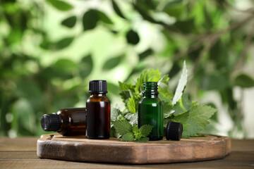 Fototapeta Glass bottles of nettle oil and leaves on wooden table against blurred background, space for text obraz