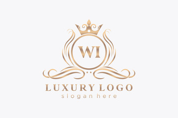 Fototapeta Initial WI Letter Royal Luxury Logo template in vector art for Restaurant, Royalty, Boutique, Cafe, Hotel, Heraldic, Jewelry, Fashion and other vector illustration. obraz