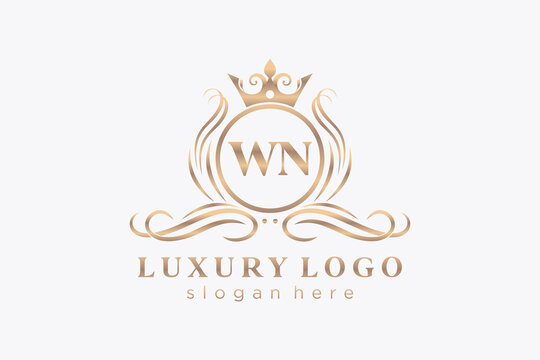 Initial WN Letter Royal Luxury Logo template in vector art for Restaurant, Royalty, Boutique, Cafe, Hotel, Heraldic, Jewelry, Fashion and other vector illustration.